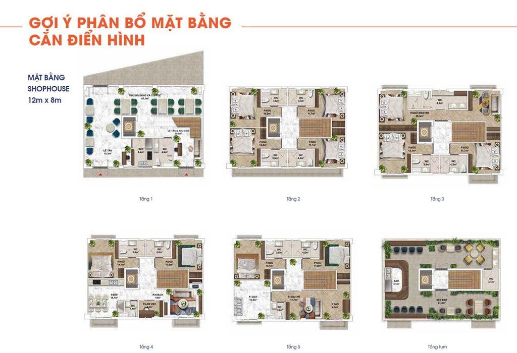 mat bang shophouse the center dien tich 12x18m