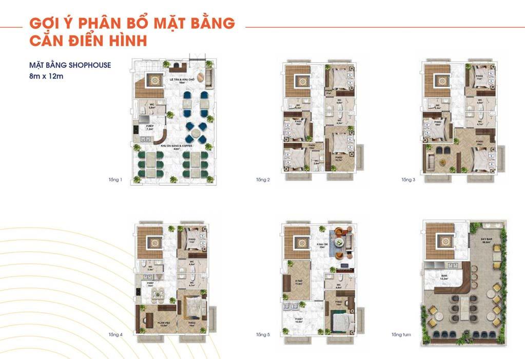 mat bang shophouse the center dien tich 8x12m