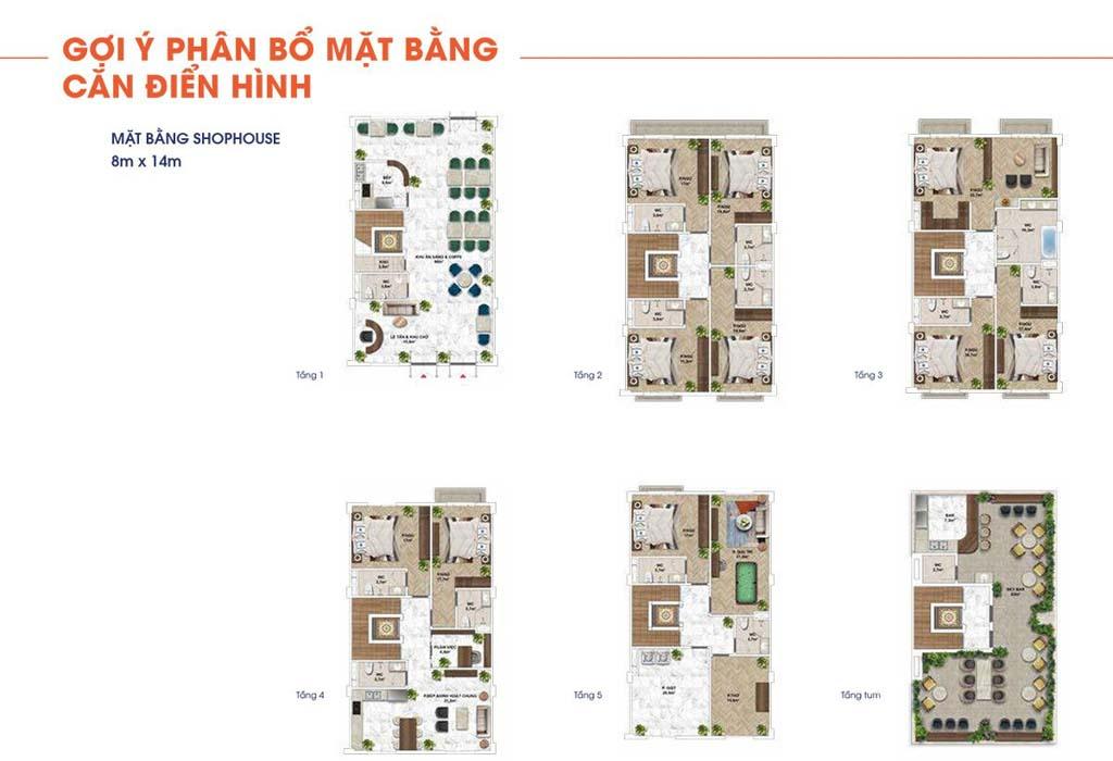 mat bang shophouse the center dien tich 8x14m