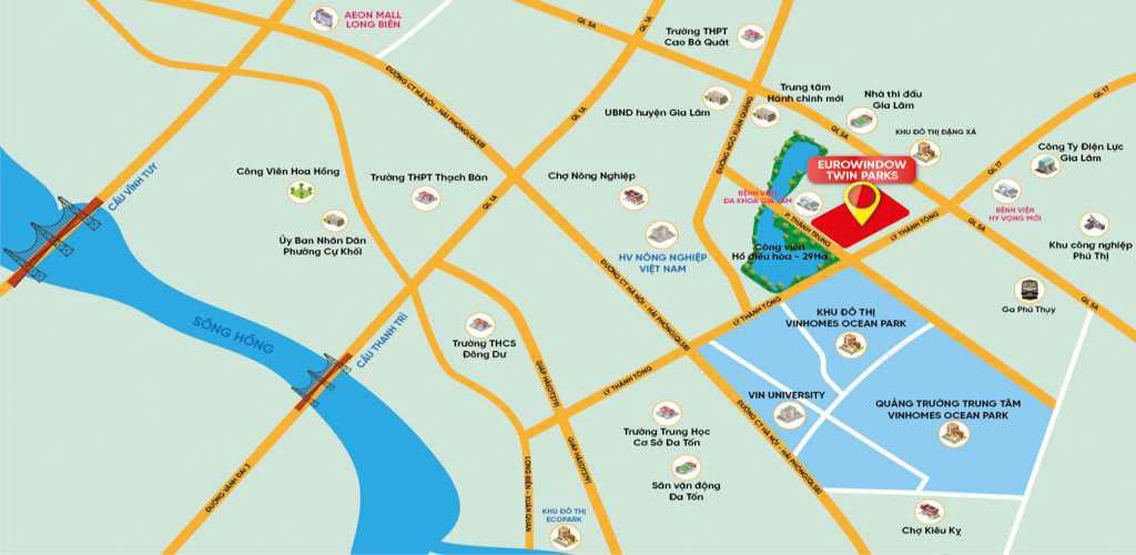 Vị trí dự án Eurowindow Twin Parks Gia Lâm có gì nổi bật?