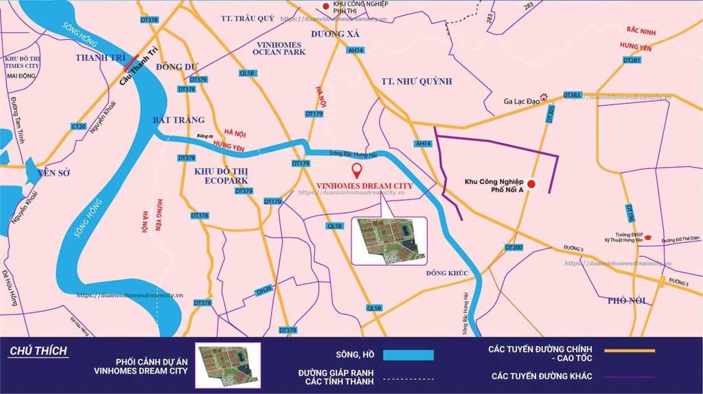 Vị trí Vinhomes Dream City Hưng Yên ở đâu?