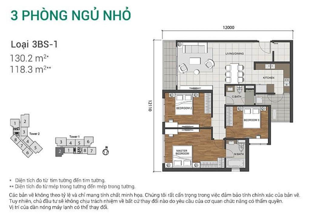 mat bang can ho 3 phong ngu estella heights